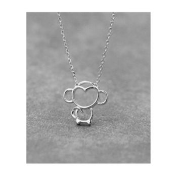 Beautiful Gift Silver Cartoon Monkey Pendant Necklace