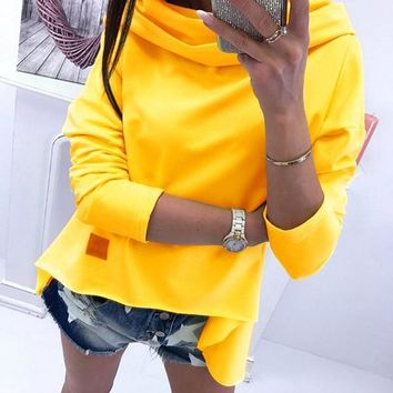 New Yellow Plain Draped Collar Long Sleeve Going out Fashion Blouse