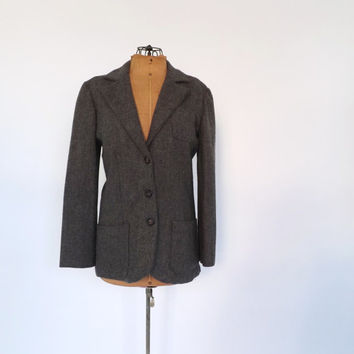 Vintage 1980s Heather Gray Wool Blazer Fall Fitted Jacket 1940s 50s Travel Suit Coat Cropped Medium Equestrian Oxford Preppy Tweed Jacket