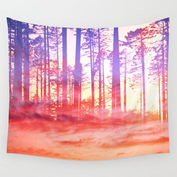 Artistic CVI - Dreamy Clouds Forest Wall Tapestry by tmarchev
