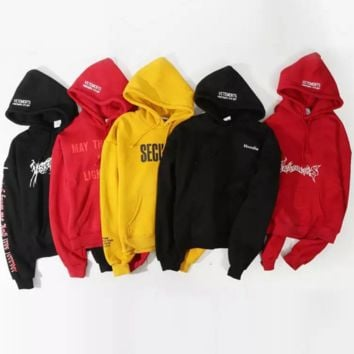 Vetements engraved pentagram lovers hooded velvet sweater men and women oversize loose section