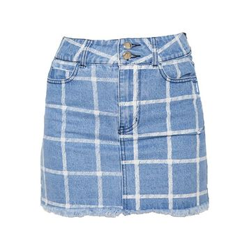 Mid Blue Wash Check Denim Skirt