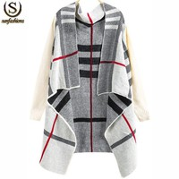 Fashion Brand Spring Knitwear Women's Clothing Desigual Long Knitting Sweaters Casual White Long Sleeve Plaid Knit Cardigan
