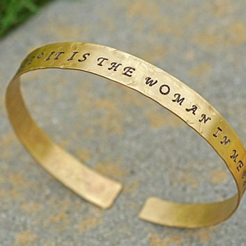 Gold Tone Upper Arm Band, Stamped Message, Woman Empowerment Arm Cuff, Personalized, Upper Arm Bangle