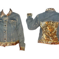 Womens Vintage Leopard Denim Jacket 90s Animal Print Oversized Large L