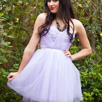 Romantic Lilac, Pastel Purple hand pleated, sweet heart tulle short prom dress - Wedding, Evening UK Ready to ship - FREE Shipping