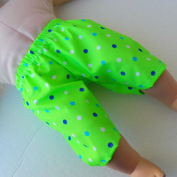 "Bitty Baby Doll Clothes Twin Boy or Baby Doll 15"" American Girl Lime Green Navy Blue Light Blue White Polka Dot Swim Trunks Swimsuit"