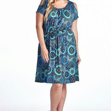Women's Plus Size Cold Shoulder Tie Waist Dress with Floral Prints