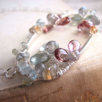 XANADU ice flower gemstone aquamarine silver wire by shadowjewels