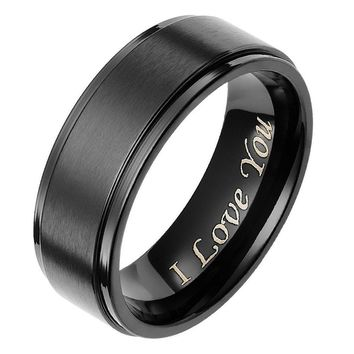 "8MM Mens Black Brushed Titanium Ring  Engraved "" I Love You"" Fashion Promise Jewelry"
