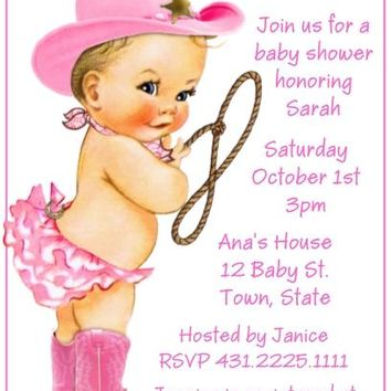 10 Cowgirl Baby Shower or Birthday Party Invitations