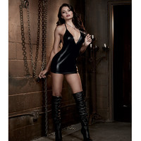 Fetish Faux Leather-look Stretch Knit Chemise W-open Back & Chain Detals & Chain Collar Black O-s