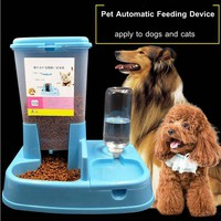 2017 Environmental Adjustable Automatic Feeder Drinking Fountain Dog Cat Feeder Water  Dispenser supply Pet Feeder Dog Food Bowl