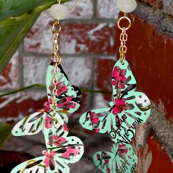 Recycled AriZona Green Tea Butterfly Earrings