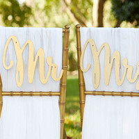 Gold Mr and Mrs Wedding Chair Signs