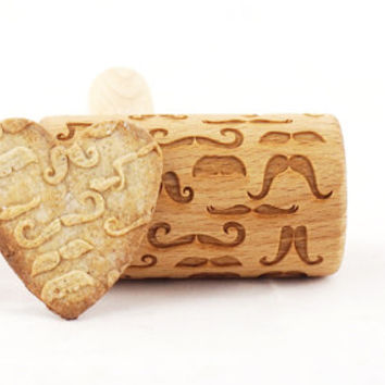 Mini rolling pin with mustache - embossed roller for cookies
