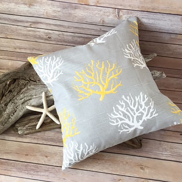 Yellow Grey Coral Pillow Cover - Beach Pillow, Ocean Decor, Sea Coral Pillow