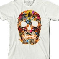 The Classic Vintage Skull Collage (amour)-Unisex White T-Shirt