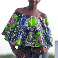 African Print Off-Shoulder Cape -Green/Blue Concentric Print