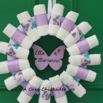 Purple Butterfly Baby Diaper Wreath