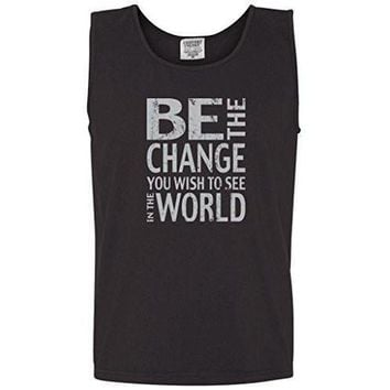 "Yoga Clothing for You Mens ""Be the Change"" Muscle Tank Top Shirt"