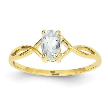 14k Yellow Gold Oval Genuine Aquamarine March Birthstone Ring