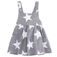 girls dresses summer 2016 Baby kids Girls Summer Sleeveless Beach Sundress Star Stripe Party Dress