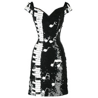 Vintage 1980s Black White Piano Keys Sequins Mini Dress