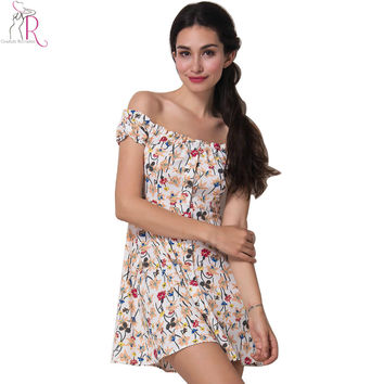 White Floral Off Shoulder Short Sleeve Mini Dress A Line Casual Prints Buttoned Front Dresses 2017 Summer Women Clothing