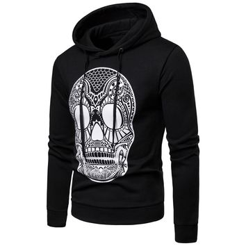 Skull Print Pullover Long Sleeve Hooded Sweatshirt