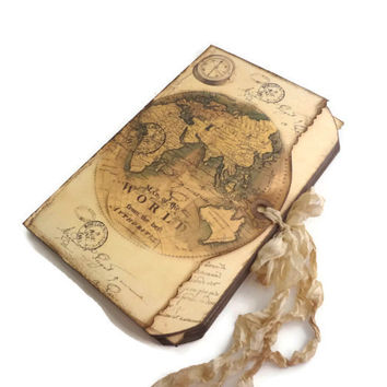 Compass Travel Journal, Old World Map Travel Log, Handmade by Istria Design