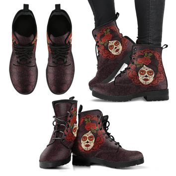 Mexican Skull Girl Women's Leather Boots