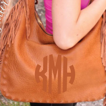 Super luxe leather fringe purse customized with an embroidered circle monogram. Bucket Fringe Bag / Tote Fringe Purse / Hobo Fringe Purse