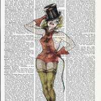 Beautiful Circus Lady on Upcycle Vintage Book Page Print Art Print Dictionary Print Collage Print