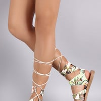 Soda Floral Strappy Gladiator Lace Up Flat Sandal