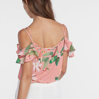 tropical lace-up cold shoulder cami