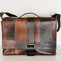 fullgive custom leather messenger bag //strappy in medium browns