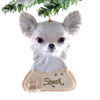 Long Haired Chihuahua Ornament Personalized Golden Chihuahua Christmas ornament your puppy's name personalized on this resin ornament