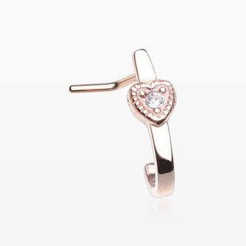 Rose Gold Dainty Princess Heart Sparkle L-Shaped Nose Hugger