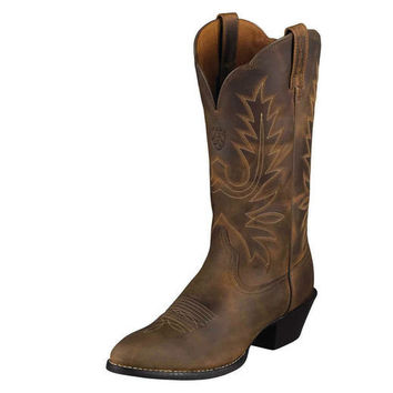 Ariat Women's Heritage Western R Toe Boot - Distressed Brown