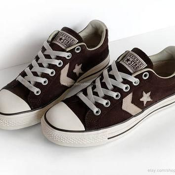 suede converse all stars leather low tops chocolate brown cream vtg sneakers kick