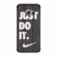 Nike Just Do It Wood Colored Darkwood Wooden Samsung Galaxy S6 Edge Case