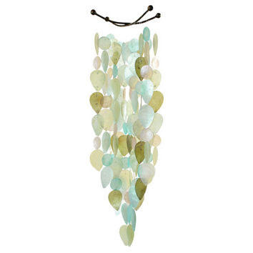 Capiz Shell Leaf Wind Chime - Cool Tones