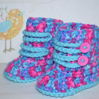 SALE!!! Handmade Crochet 0-3 months Baby Girl shoes boots booties WILD multi color with pink buttons and teal laces. Ready to Ship!