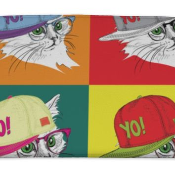 Bath Mat, Portrait Of Cat In The Glasses And In Hiphop Hat Pop Art Style Illustration