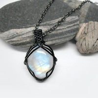 OOAK Moonstone necklace, extra flashy wire wrapped rainbow moonstone, black copper wire, multicolored moonstone, unique necklace for women