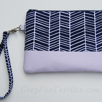 Herringbone Wristlet / Clutch / custom color You choose the accent lavender, kelly green, coral, yellow, mint, purple, aquamarine, aqua