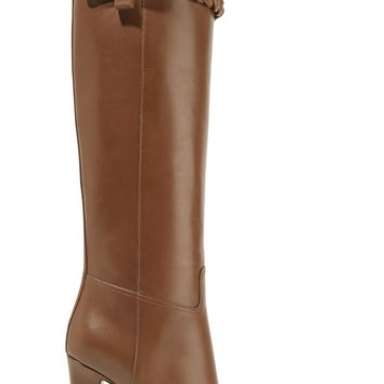 Braid-trimmed leather knee boots | Valentino | US | THE OUTNET