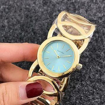 ONETOW CK Watch man women  fashion Watch F-Fushida-8899 Gold - mint green face