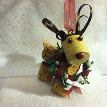 Wine Cork craft reindeer holiday Christmas ornament